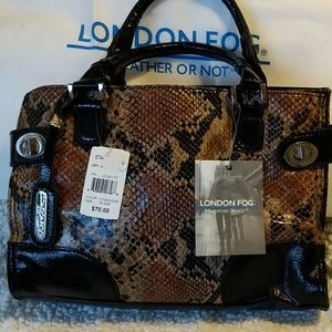 London Fog Weather or Not Snakeskin purse handbag